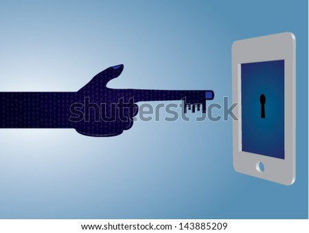 Hacker / Hacking Creative Concept - Vector Background showing a 3D Smartphone about to be hacked / unlocked by a hacker's hand. - stock vector