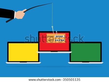 Hacker hold a fishhook for phishing username and password login on victim laptop notebook. Vector illustration computer security technology concept. - stock vector