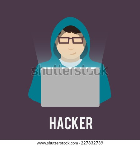 Hacker icon man in hoody with laptop flat isolated on dark background vector illustration - stock vector