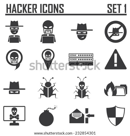 hacker icons set 1 - stock vector