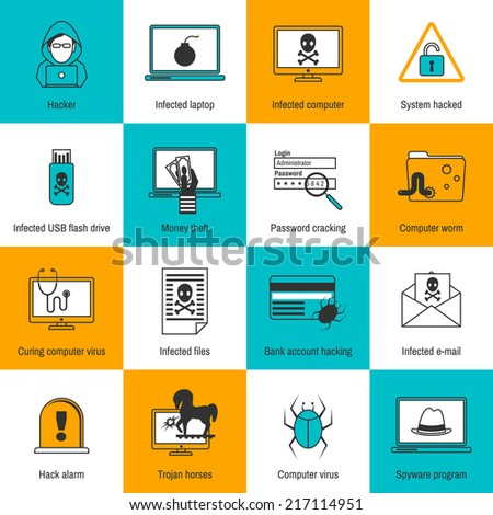 Hacker infected laptop computer and flash drive flat line icons set isolated vector illustration - stock vector