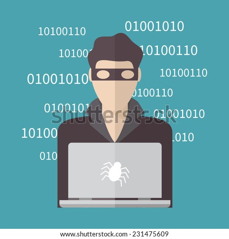 Hacker, Internet Security concept. Flat design vector illustration. - stock vector
