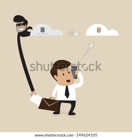 Hacker is stealing data form businessman - stock vector