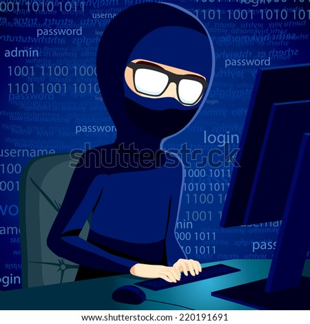 Hacker man typing on computer breaking system security code wearing balaclava and dark clothing to conceal his identity - stock vector