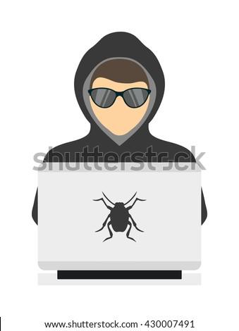 Hacker on laptop. Hooded computer hacker stealing information with laptop and computer hacker laptop. Theft danger programmer hack, stealing computer hacker anonymous secure fraud man. - stock vector