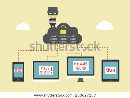 hacker send virus from cloud to your device, beware illegal server, vector illustration, flat style - stock vector