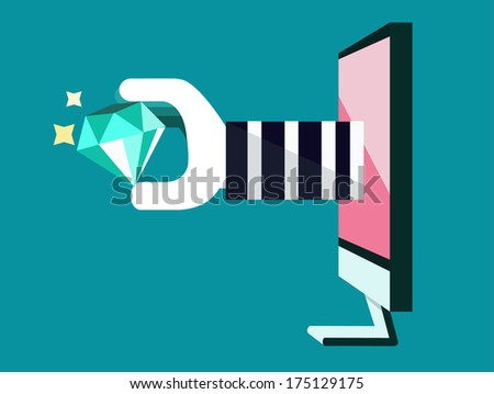hacker snatch Diamond. Vector, technology security concept. vector - stock vector