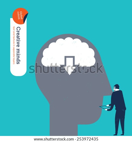Hacker stealing information from a brain. Vector illustration Eps10 file. Global colors. Text and Texture in separate layers. - stock vector