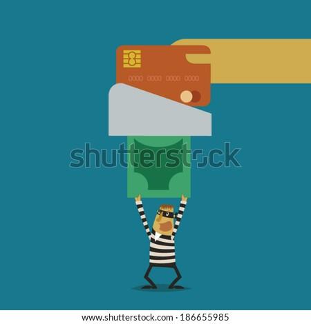Hacker stolen money from swipe credit card - stock vector
