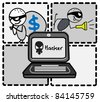 hacker thief money vector - stock vector
