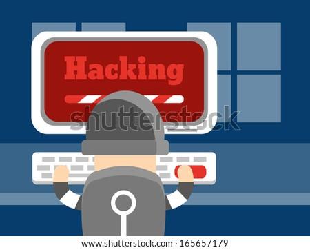 Hacker ,Vector cartoon business - stock vector