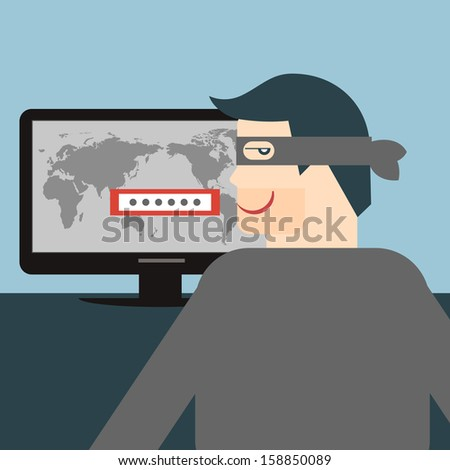 Hacker. Vectorial illustration for thief stealing sensitive data as passwords from a personal computer useful for anti phishing and internet viruses campaigns. concept hacking internet social network. - stock vector