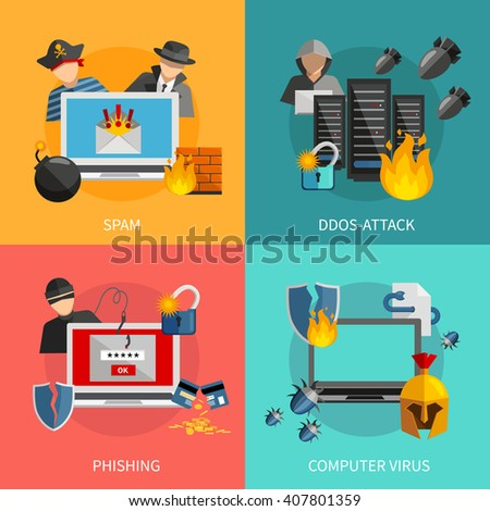 Hacker 2x2 flat design concept with spam phishing ddos attack and computer viruses threats for computer systems icons compositions vector illustration - stock vector