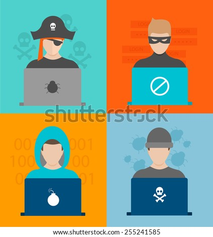 Hackers activity vector illustration in flat design style. Computer hacking, internet security concept.  - stock vector