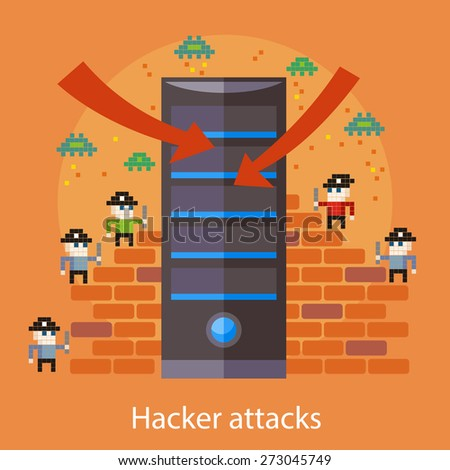Hackers attaks activity. Computer hacking, internet security concept in flat design. Pirates attacking server in pixel style. For web banners, marketing promotional materials, presentation templates  - stock vector