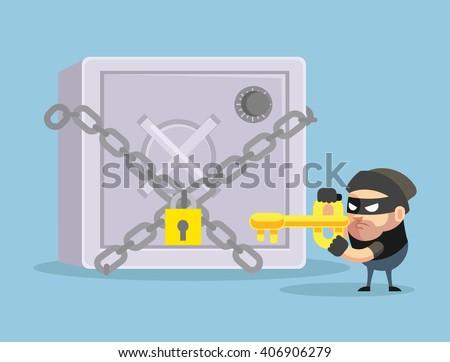 Hacking bank safe. Vector flat cartoon illustration - stock vector
