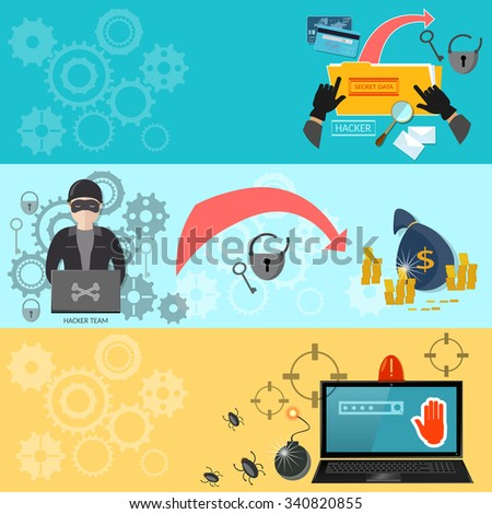 Hacking concept data theft computer hacking mailing virus bank account infecting files banners - stock vector