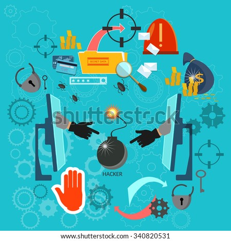 Hacking concept protecting data computer from viruses spam phishing password cracking vector illustration - stock vector