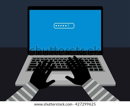 hacking password protection. password hacker hacks into the computer. Hacker secutriy steal your data and system with code internet. - stock vector