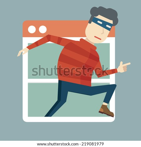 Hacking personal information. Penetration through window of program inside the computer - vector illustration - stock vector
