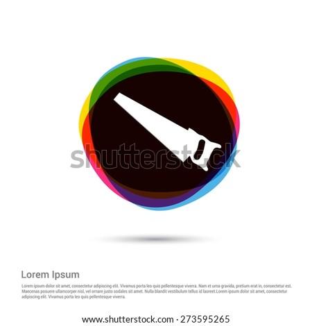 hacksaw Icon, White pictogram icon creative circle Multicolor background. Vector illustration. Flat icon design style - stock vector