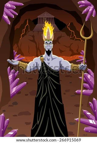 Hades welcomes you to the Underworld. No transparency used. Basic (linear) gradients. - stock vector