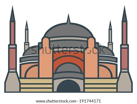 Hagia Sophia, Istanbul - simple icon - stock vector