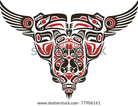 Haida style tattoo design created with animal images. - stock vector