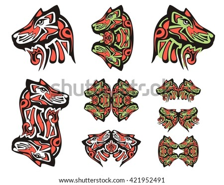 Haida wolf head tattoos. Tribal double symbols of the wolf head executed in black, red and green color - stock vector