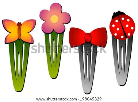 hair clips flower, bow, butterfly, bow - stock vector