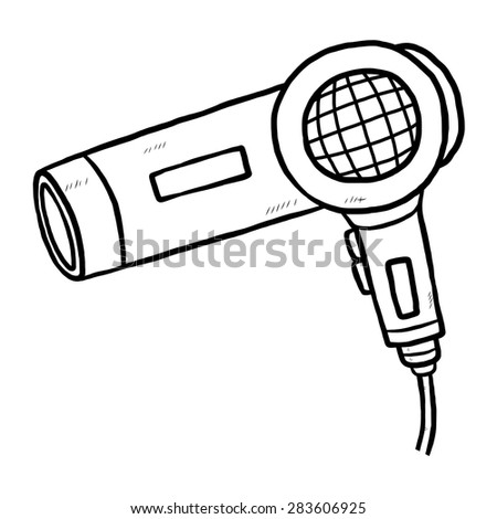 hair dryer / cartoon vector and illustration, black and white, hand drawn, sketch style, isolated on white background.