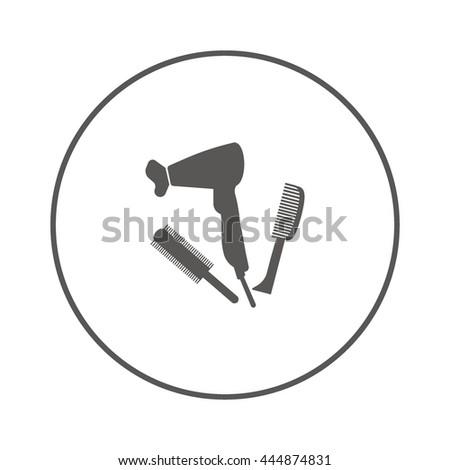 hair dryer, comb, icon - stock vector