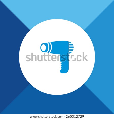 Hair Dryer Icon on Blue Background. Eps-10.