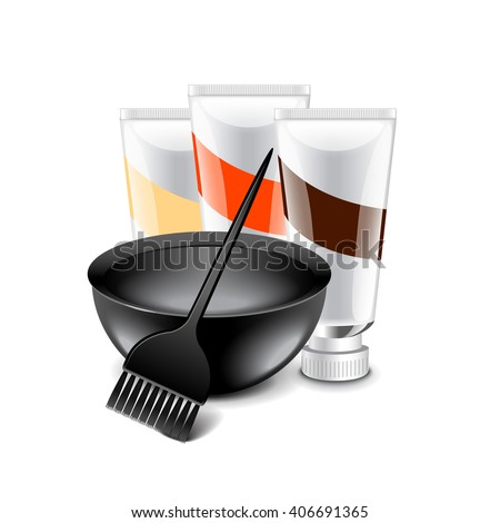 Hair dye tools isolated on white photo-realistic vector illustration - stock vector