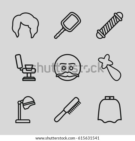 Hair icons set. set of 9 hair outline icons such as comb, salon hair dryer, mirror, hairdresser peignoir, barber chair