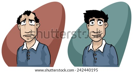 hair loss concept, man before and after treatment, vector illustration - stock vector