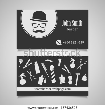 Hair Salon Barber Business Card Design Stock Vector - Barber business card template