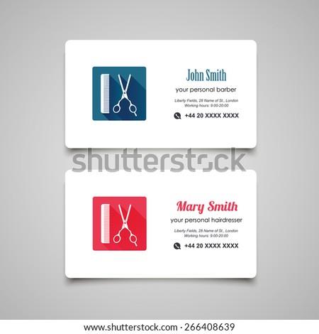 Hair salon barber shop Business Card design template - stock vector