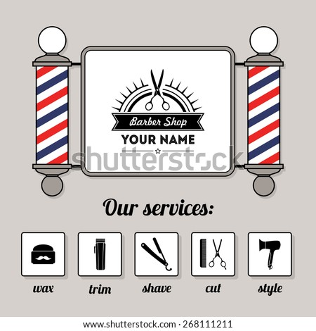 Hair salon barber shop sign and services design template set - stock vector