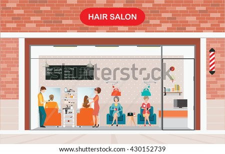 Hair salon building and interior with customer, vector illustration. - stock vector