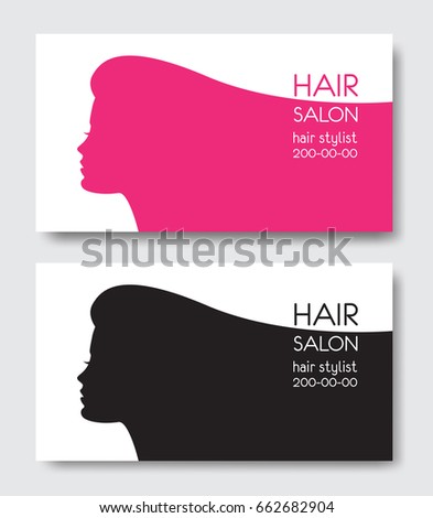 Hair salon business card templates beautiful stock vector hd hair salon business card templates with beautiful woman face silhouette silhouette of woman with long wajeb Choice Image