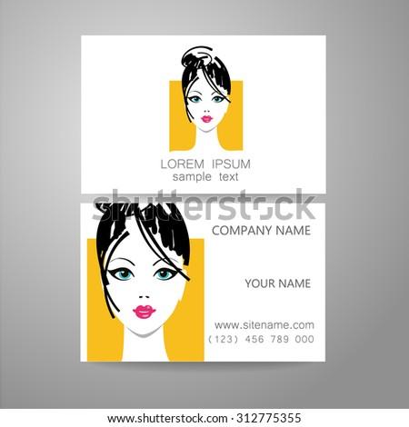 Hair salon, hairdresser - template logo. Branded business card hair stylist. - stock vector