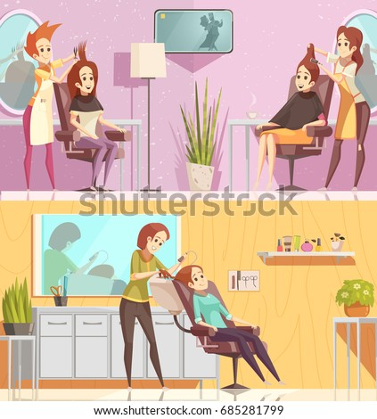 salon beauty vector cartoon hair service cutting retro coloring profile female hairdresser shutterstock illustration silhouette concept treatments styling horizontal banners