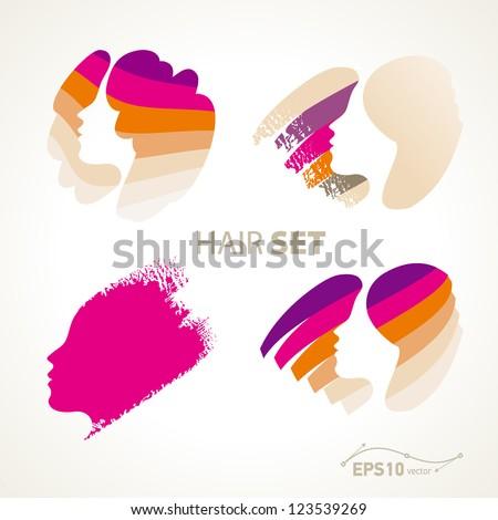 hair set / vector no effect - stock vector