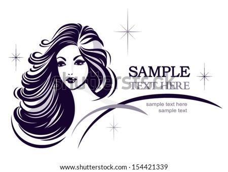 Hair stile icon, girl's face, vector logo design - stock vector
