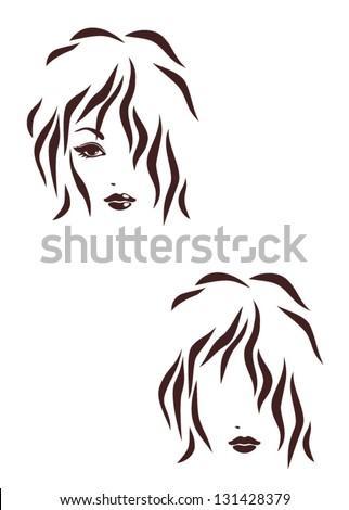 Hair stile icon, logo hair - stock vector