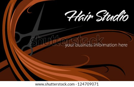 Hair studio abstract card - stock vector