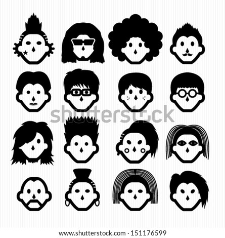 hair style icons - stock vector