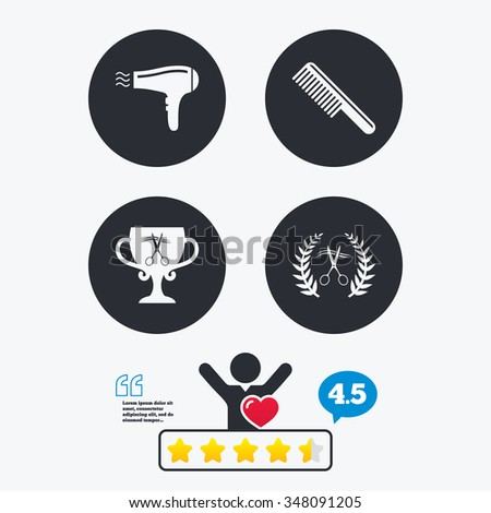 Hairdresser icons. Scissors cut hair symbol. Comb hair with hairdryer symbol. Barbershop laurel wreath winner award. Star vote ranking. Client like and think bubble. Quotes with message. - stock vector