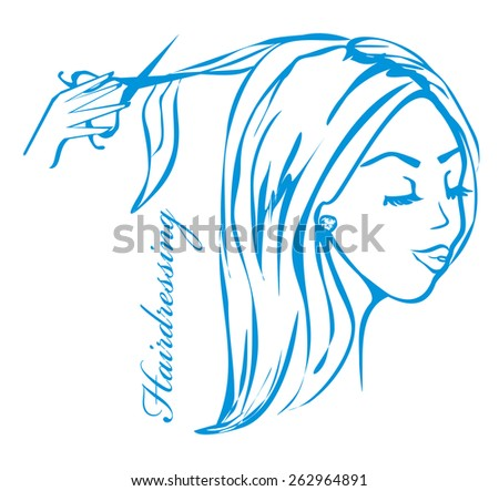 hairdresser salon logo - stock vector